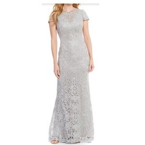 Tadashi Shoji Lace Sequin Full Length Gown-Pewter